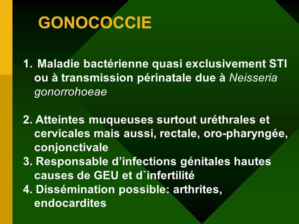 GONOCOCCIE 1. Maladie bactérienne quasi exclusivement STI ou à transmission périnatale due à Neisseria gonorrohoeae 2. Atteintes muqueuses surtout uré