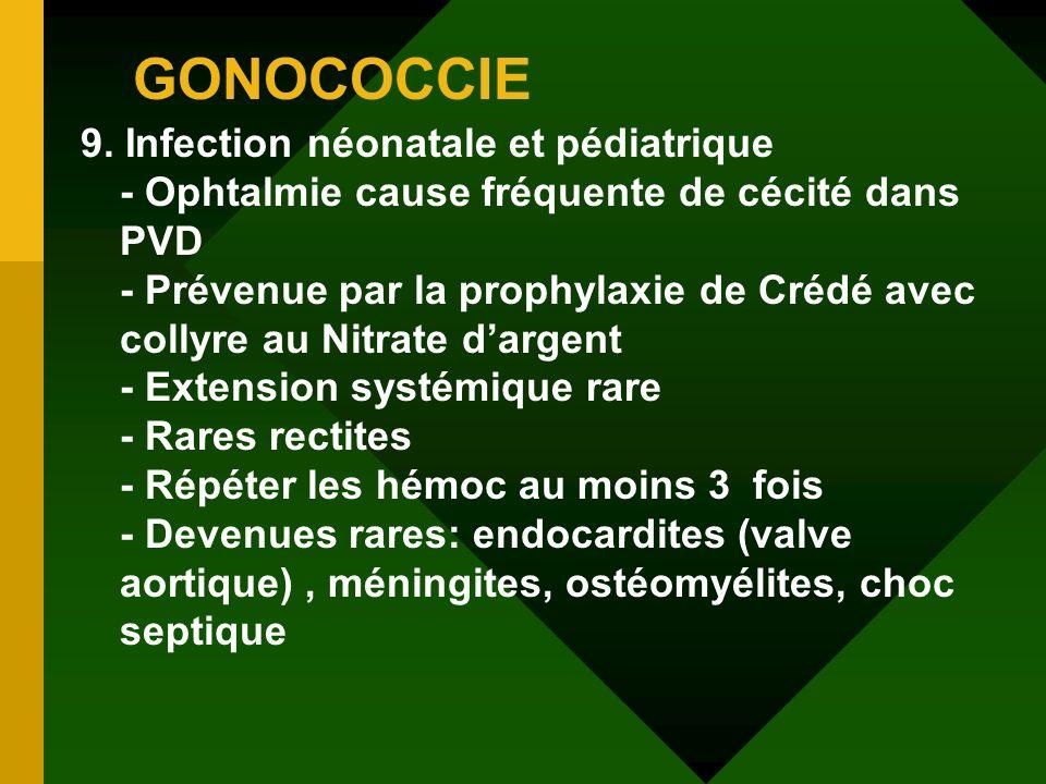 GONOCOCCIE 9. Infection néonatale et pédiatrique - Ophtalmie cause fréquente de cécité dans PVD - Prévenue par la prophylaxie de Crédé avec collyre au