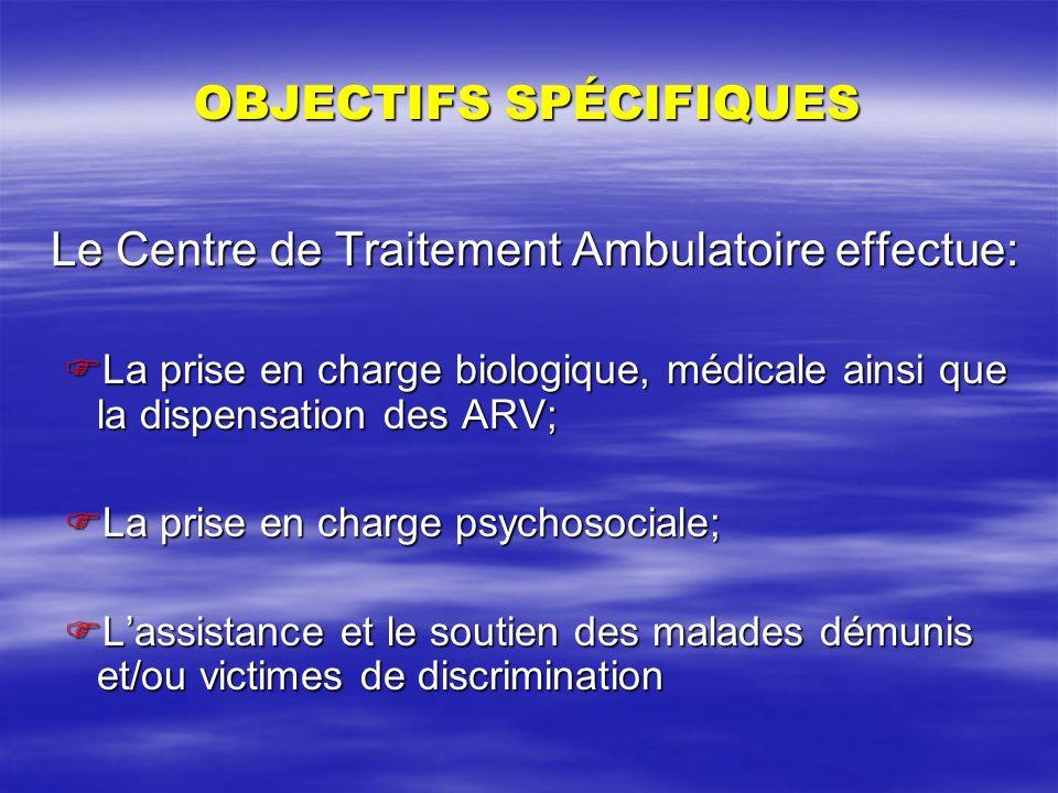 OBJECTIFS SPÉCIFIQUES Le Centre de Traitement Ambulatoire effectue: La prise en charge biologique, médicale ainsi que la dispensation des ARV; La pris