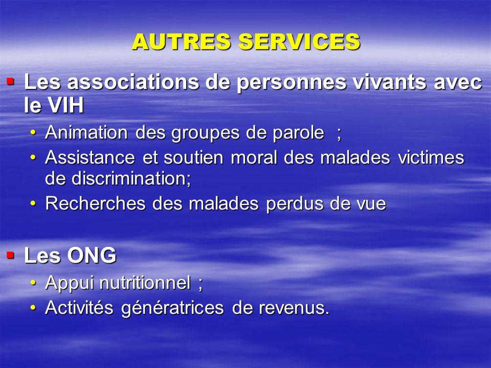 AUTRES SERVICES Les associations de personnes vivants avec le VIH Les associations de personnes vivants avec le VIH Animation des groupes de parole ;A