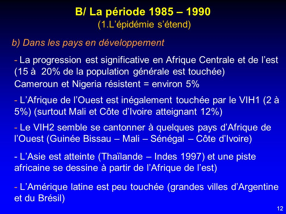 12 B/ La période 1985 – 1990 (1.Lépidémie sétend) b) Dans les pays en développement - La progression est significative en Afrique Centrale et de lest