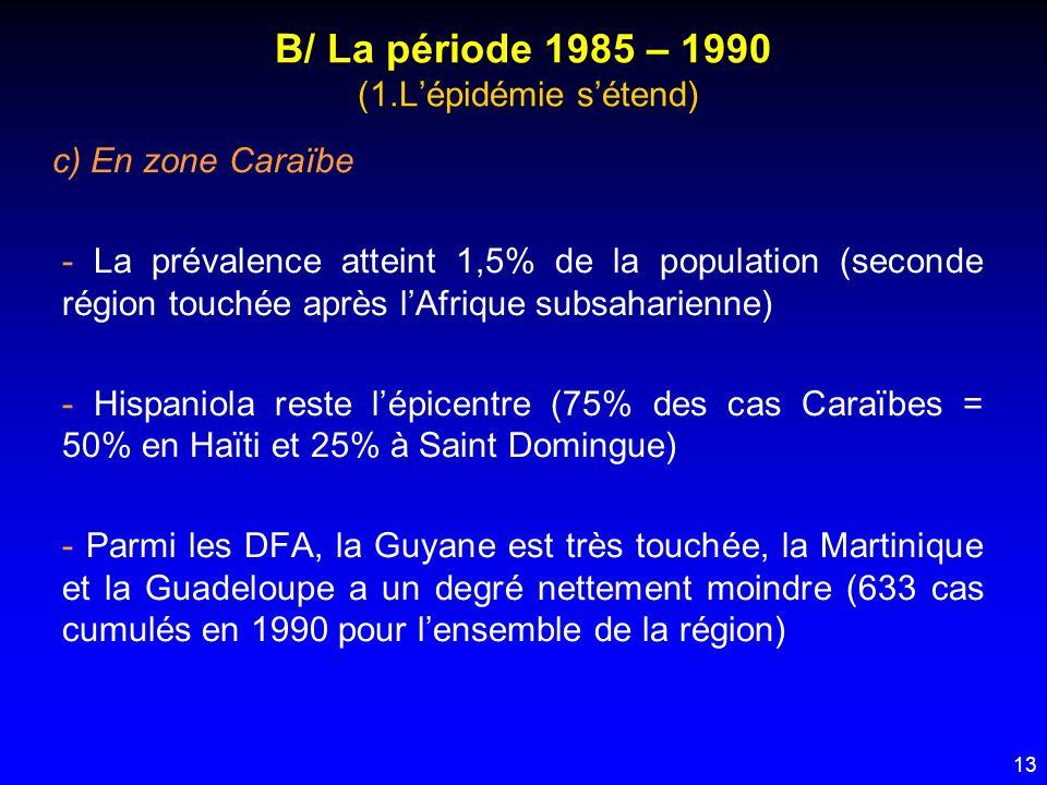 13 B/ La période 1985 – 1990 (1.Lépidémie sétend) c) En zone Caraïbe - La prévalence atteint 1,5% de la population (seconde région touchée après lAfri