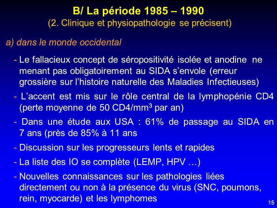 15 B/ La période 1985 – 1990 (2. Clinique et physiopathologie se précisent) a) dans le monde occidental - Le fallacieux concept de séropositivité isol