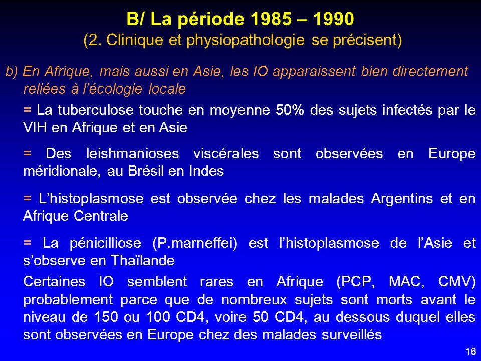 16 B/ La période 1985 – 1990 (2. Clinique et physiopathologie se précisent) b) En Afrique, mais aussi en Asie, les IO apparaissent bien directement re