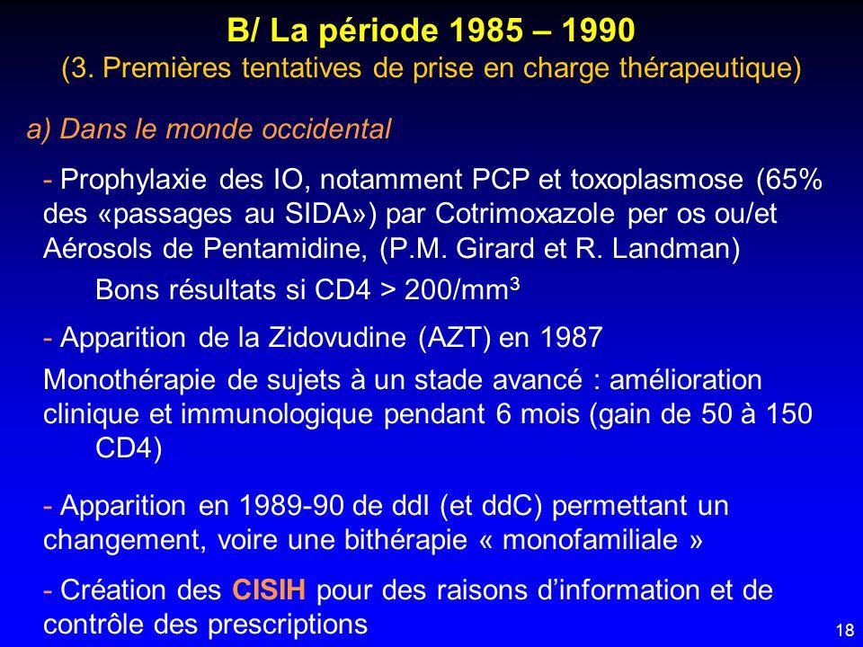 18 B/ La période 1985 – 1990 (3. Premières tentatives de prise en charge thérapeutique) a) Dans le monde occidental - Prophylaxie des IO, notamment PC