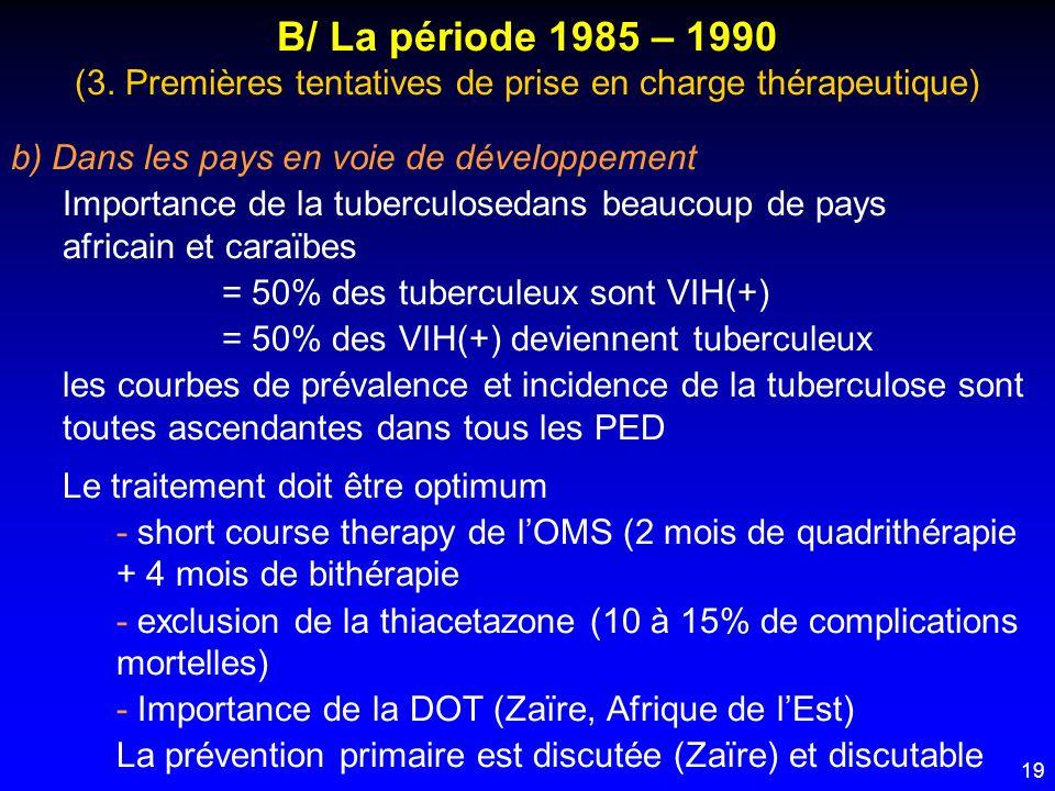 19 B/ La période 1985 – 1990 (3. Premières tentatives de prise en charge thérapeutique) b) Dans les pays en voie de développement Importance de la tub