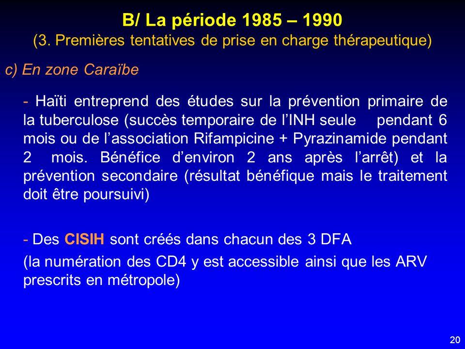 20 B/ La période 1985 – 1990 (3. Premières tentatives de prise en charge thérapeutique) c) En zone Caraïbe - Haïti entreprend des études sur la préven
