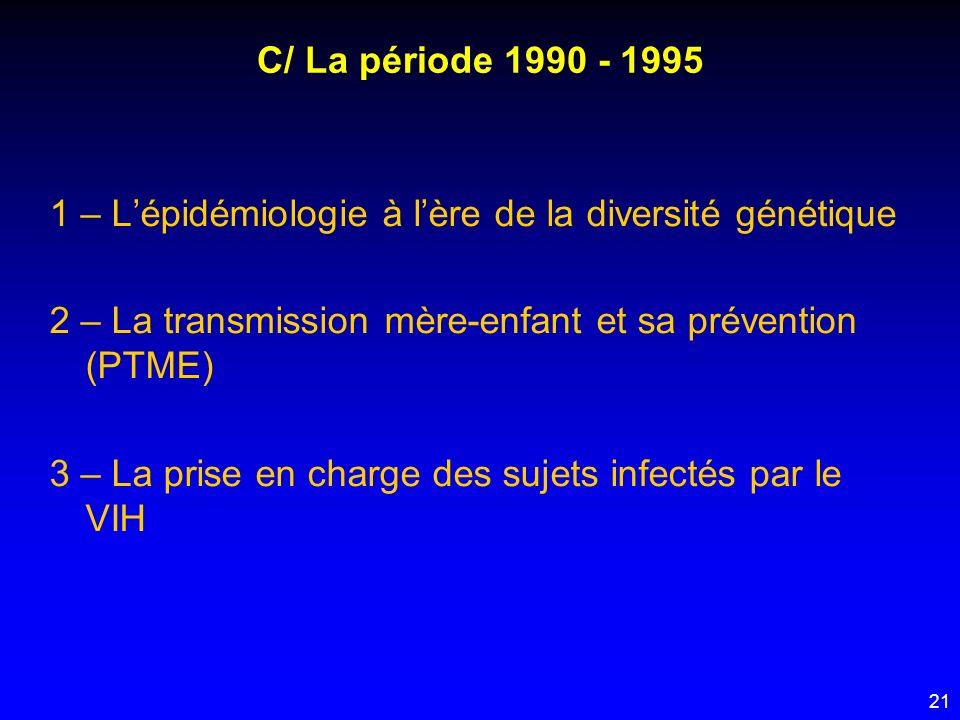 21 C/ La période 1990 - 1995 1 – Lépidémiologie à lère de la diversité génétique 2 – La transmission mère-enfant et sa prévention (PTME) 3 – La prise