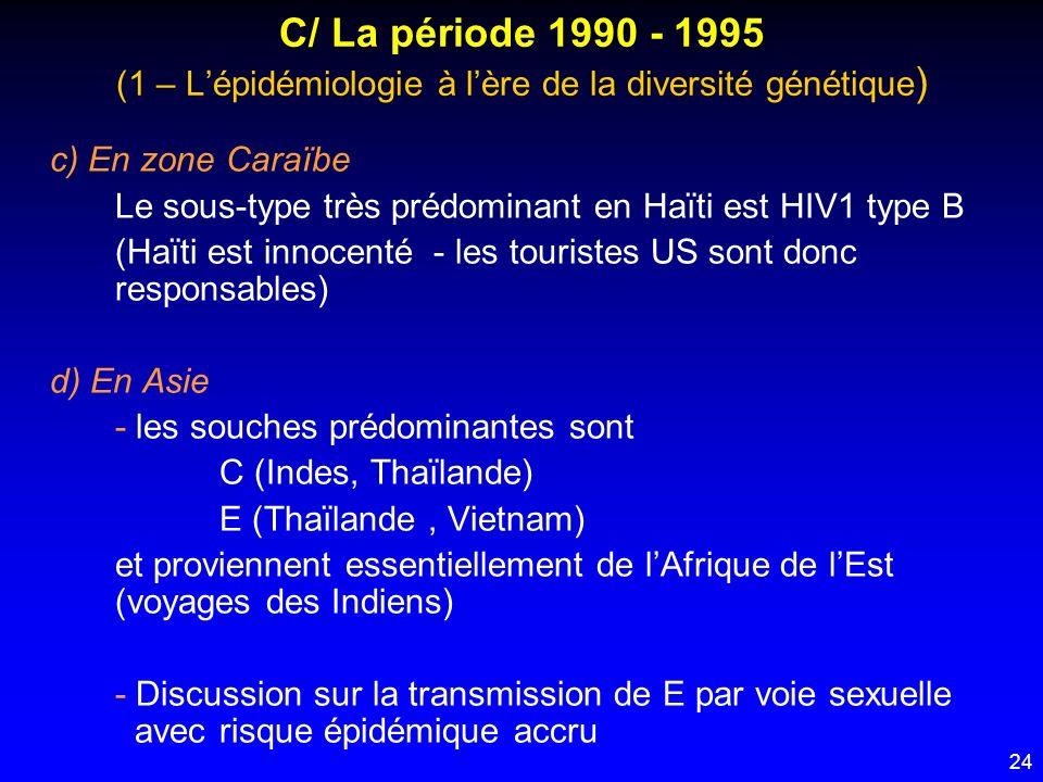 24 C/ La période 1990 - 1995 (1 – Lépidémiologie à lère de la diversité génétique ) c) En zone Caraïbe Le sous-type très prédominant en Haïti est HIV1