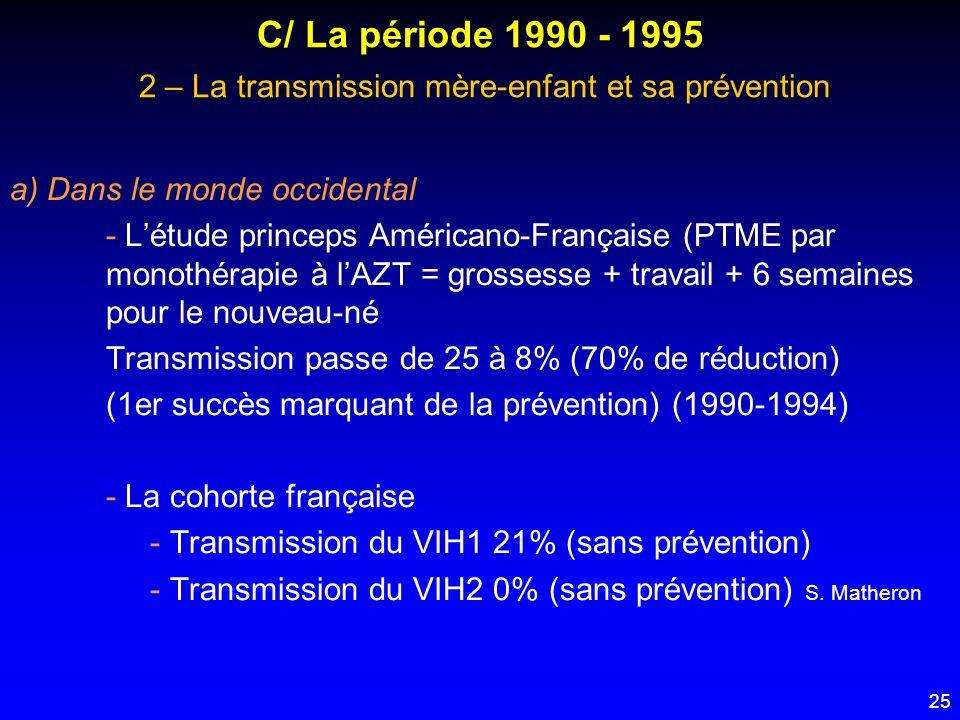 25 C/ La période 1990 - 1995 2 – La transmission mère-enfant et sa prévention a) Dans le monde occidental - Létude princeps Américano-Française (PTME