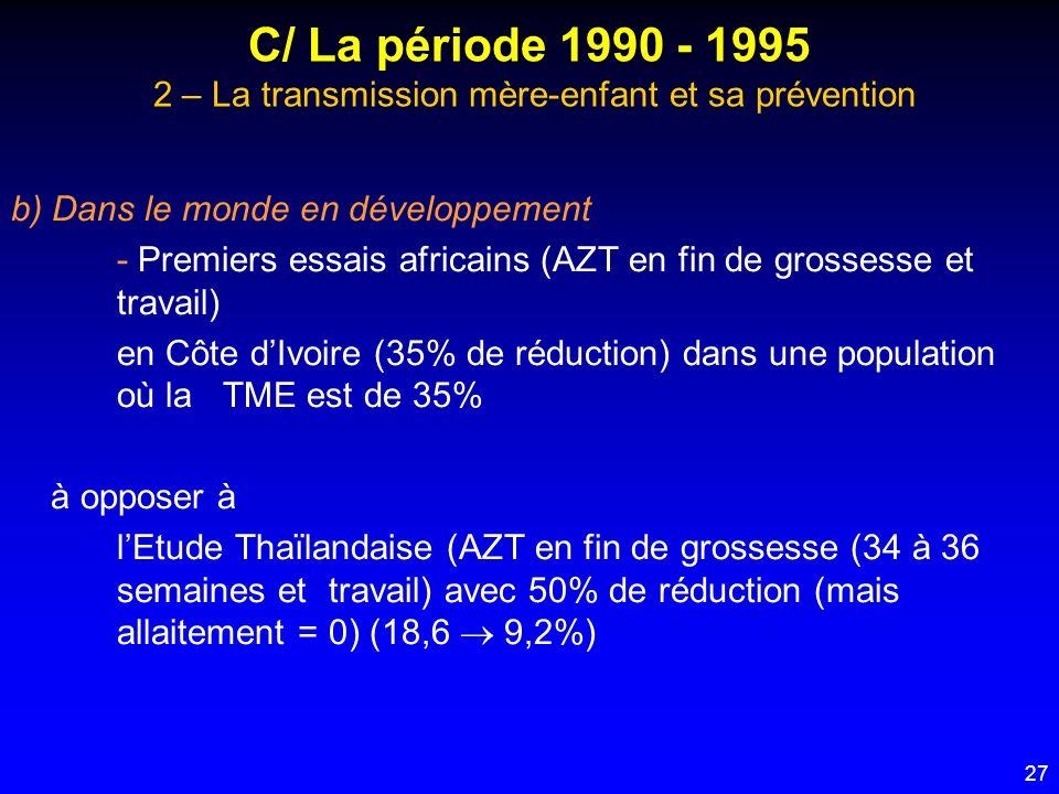 27 C/ La période 1990 - 1995 2 – La transmission mère-enfant et sa prévention b) Dans le monde en développement - Premiers essais africains (AZT en fi