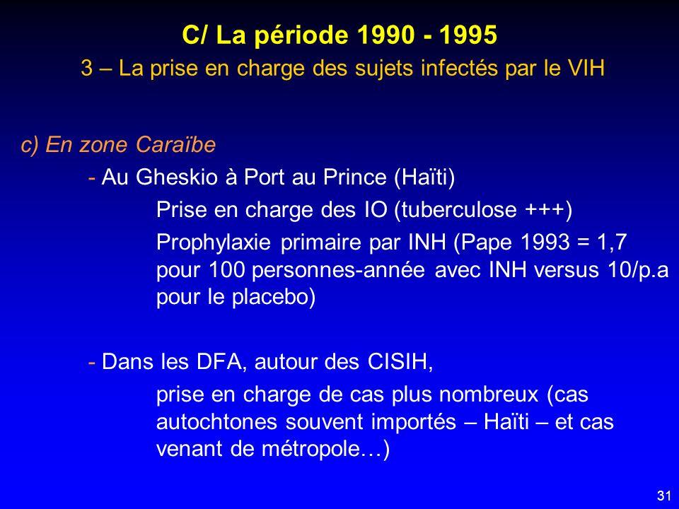 31 C/ La période 1990 - 1995 3 – La prise en charge des sujets infectés par le VIH c) En zone Caraïbe - Au Gheskio à Port au Prince (Haïti) Prise en c