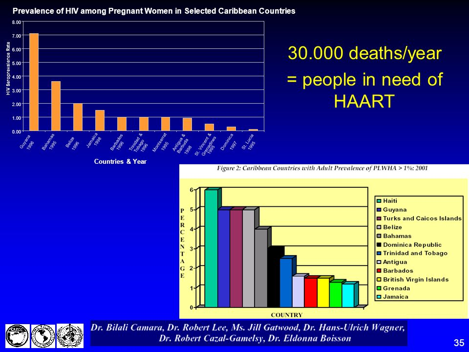 35 30.000 deaths/year = people in need of HAART Prevalence of HIV among Pregnant Women in Selected Caribbean Countries Countries & Year 0.00 1.00 2.00