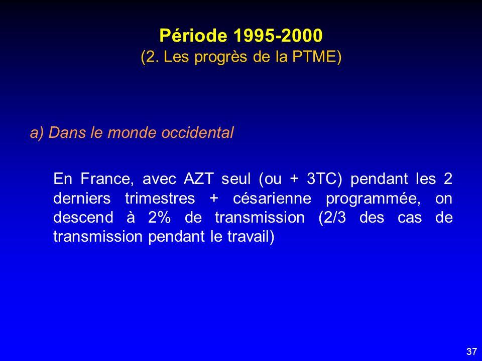 37 Période 1995-2000 (2. Les progrès de la PTME) a) Dans le monde occidental En France, avec AZT seul (ou + 3TC) pendant les 2 derniers trimestres + c