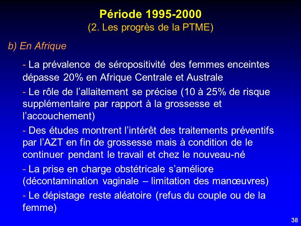 38 Période 1995-2000 (2. Les progrès de la PTME) b) En Afrique - La prévalence de séropositivité des femmes enceintes dépasse 20% en Afrique Centrale