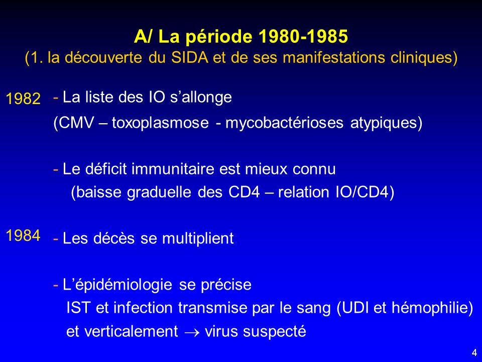 4 - La liste des IO sallonge (CMV – toxoplasmose - mycobactérioses atypiques) - Le déficit immunitaire est mieux connu (baisse graduelle des CD4 – rel