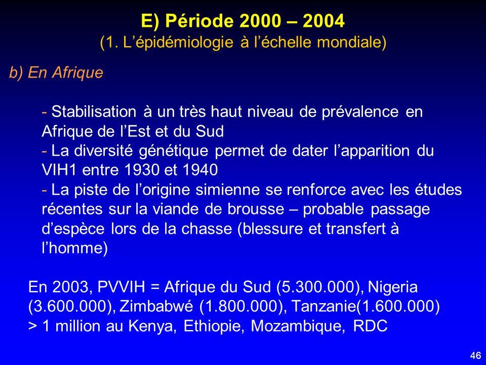 46 E) Période 2000 – 2004 (1. Lépidémiologie à léchelle mondiale) b) En Afrique - Stabilisation à un très haut niveau de prévalence en Afrique de lEst
