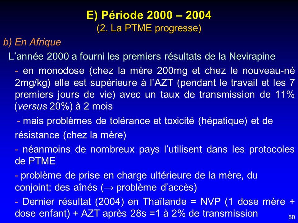 50 E) Période 2000 – 2004 (2. La PTME progresse) b) En Afrique Lannée 2000 a fourni les premiers résultats de la Nevirapine - en monodose (chez la mèr