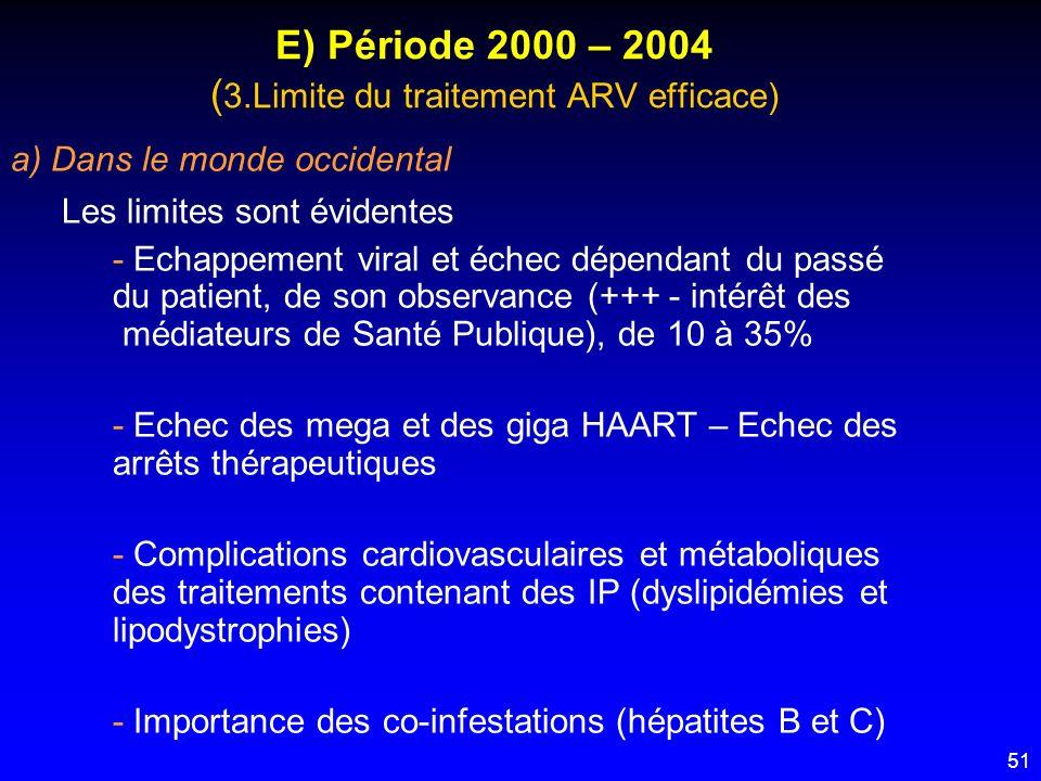 51 E) Période 2000 – 2004 ( 3.Limite du traitement ARV efficace) a) Dans le monde occidental Les limites sont évidentes - Echappement viral et échec d
