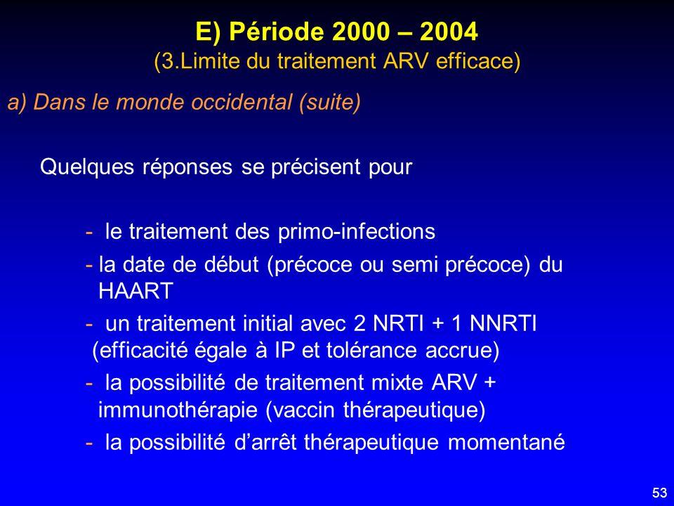 53 E) Période 2000 – 2004 (3.Limite du traitement ARV efficace) a) Dans le monde occidental (suite) Quelques réponses se précisent pour - le traitemen