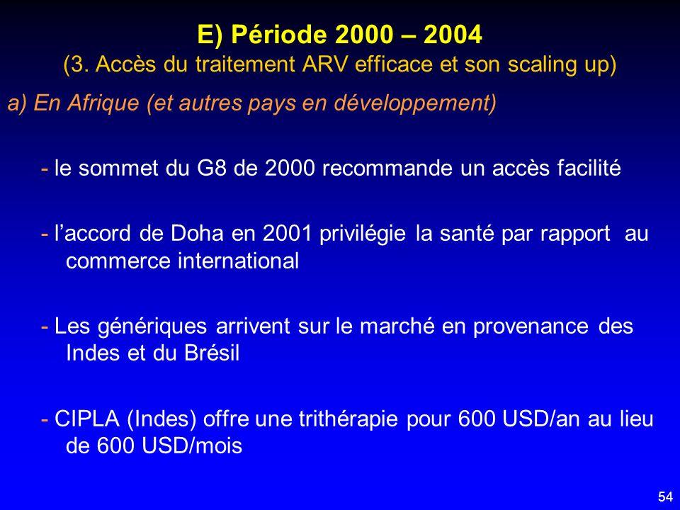 54 E) Période 2000 – 2004 (3. Accès du traitement ARV efficace et son scaling up) a) En Afrique (et autres pays en développement) - le sommet du G8 de
