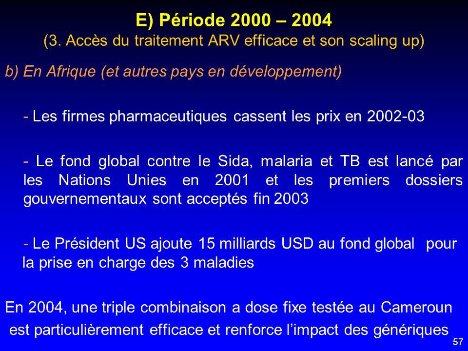 57 E) Période 2000 – 2004 (3. Accès du traitement ARV efficace et son scaling up) b) En Afrique (et autres pays en développement) - Les firmes pharmac