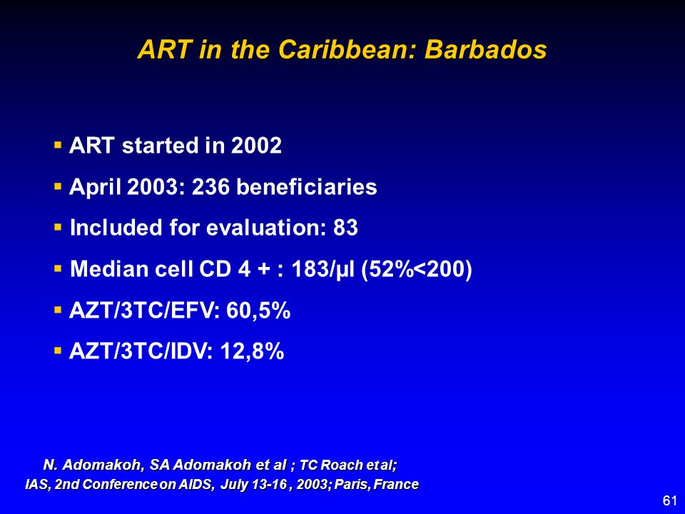 61 ART started in 2002 April 2003: 236 beneficiaries Included for evaluation: 83 Median cell CD 4 + : 183/µl (52%<200) AZT/3TC/EFV: 60,5% AZT/3TC/IDV: