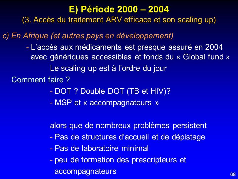 68 E) Période 2000 – 2004 (3. Accès du traitement ARV efficace et son scaling up) c) En Afrique (et autres pays en développement) - Laccès aux médicam