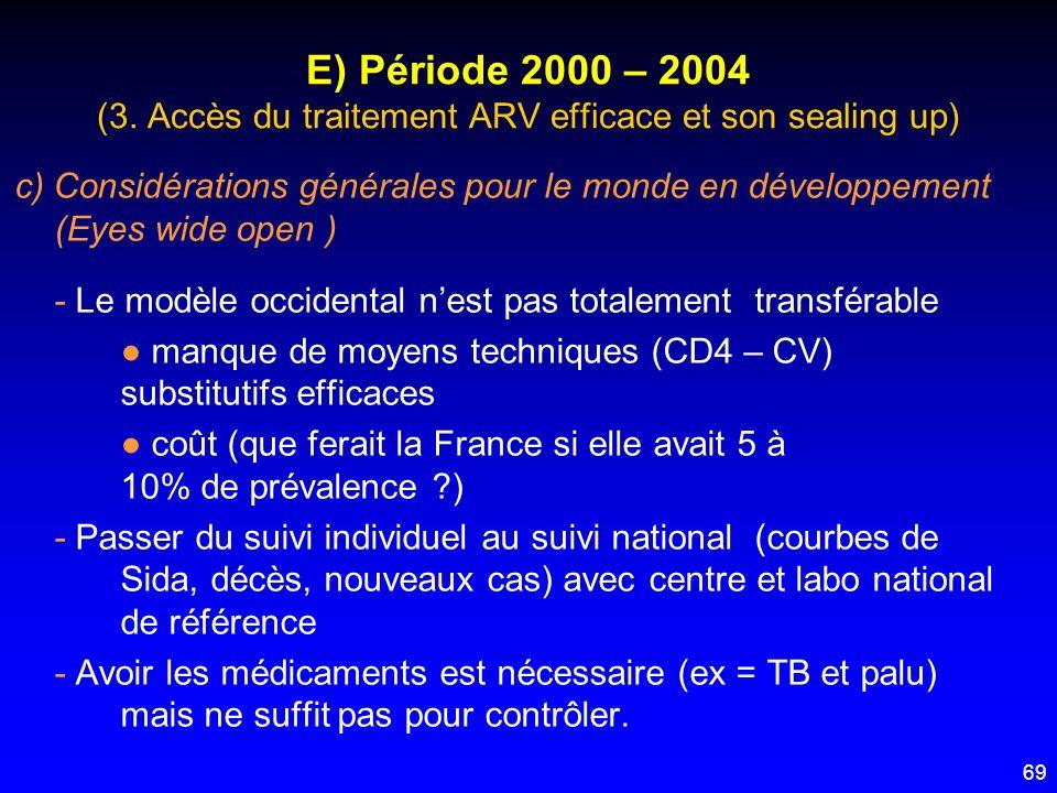 69 E) Période 2000 – 2004 (3. Accès du traitement ARV efficace et son sealing up) c) Considérations générales pour le monde en développement (Eyes wid