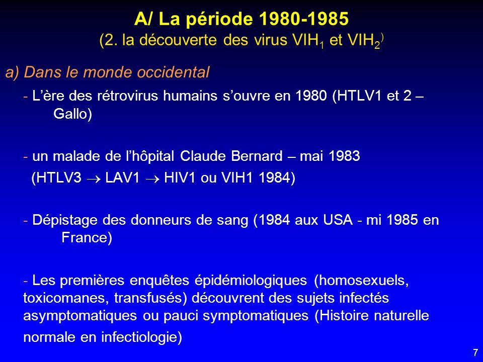 7 A/ La période 1980-1985 (2. la découverte des virus VIH 1 et VIH 2 ) a) Dans le monde occidental - Lère des rétrovirus humains souvre en 1980 (HTLV1