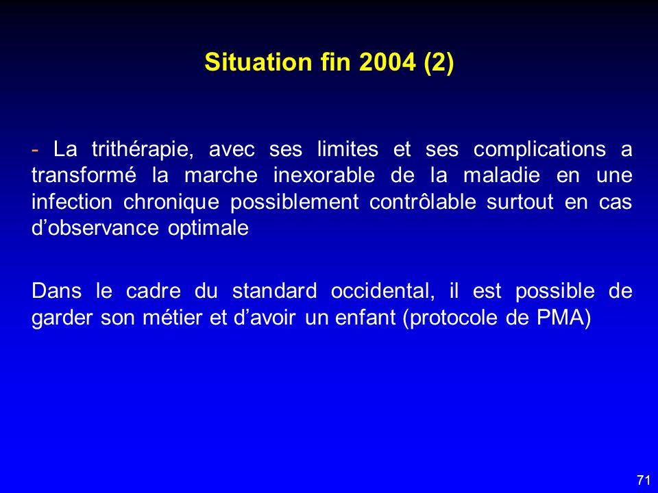 71 Situation fin 2004 (2) - La trithérapie, avec ses limites et ses complications a transformé la marche inexorable de la maladie en une infection chr