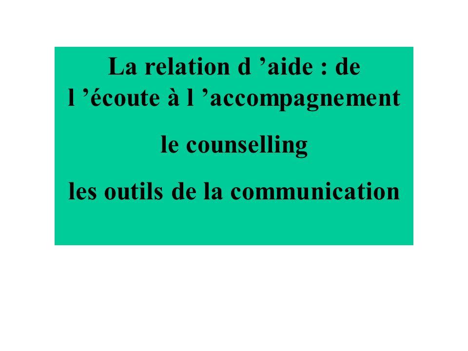 La relation daide « La relation daide consiste en une interaction particulière entre deux personnes, l intervenant et le client, chacun contribuant personnellement à la recherche et à la satisfaction dun besoin daide présent chez ce dernier.