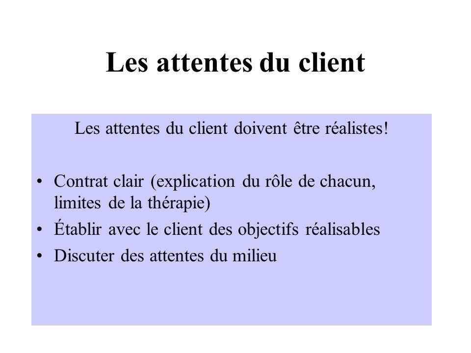 Les attentes du client Les attentes du client doivent être réalistes! Contrat clair (explication du rôle de chacun, limites de la thérapie) Établir av