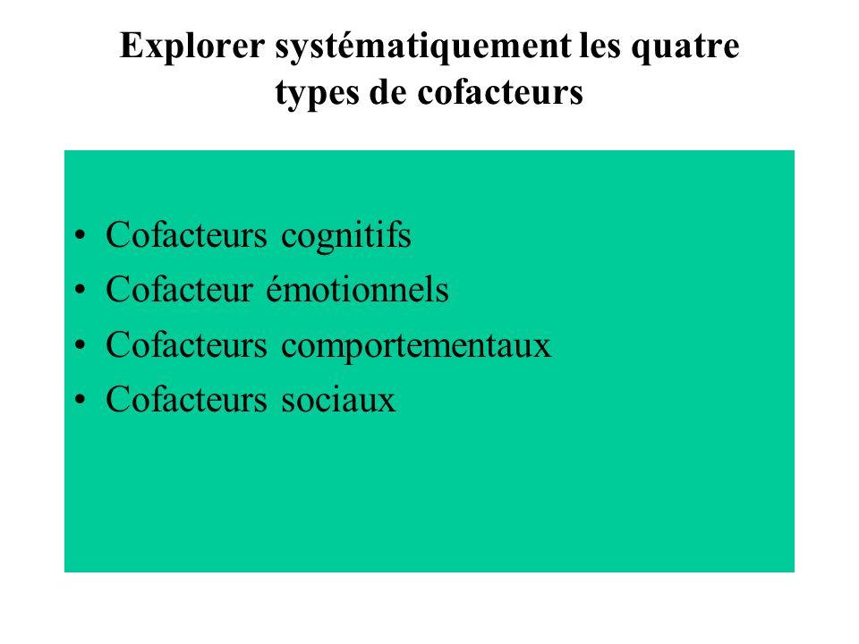 Explorer systématiquement les quatre types de cofacteurs Cofacteurs cognitifs Cofacteur émotionnels Cofacteurs comportementaux Cofacteurs sociaux