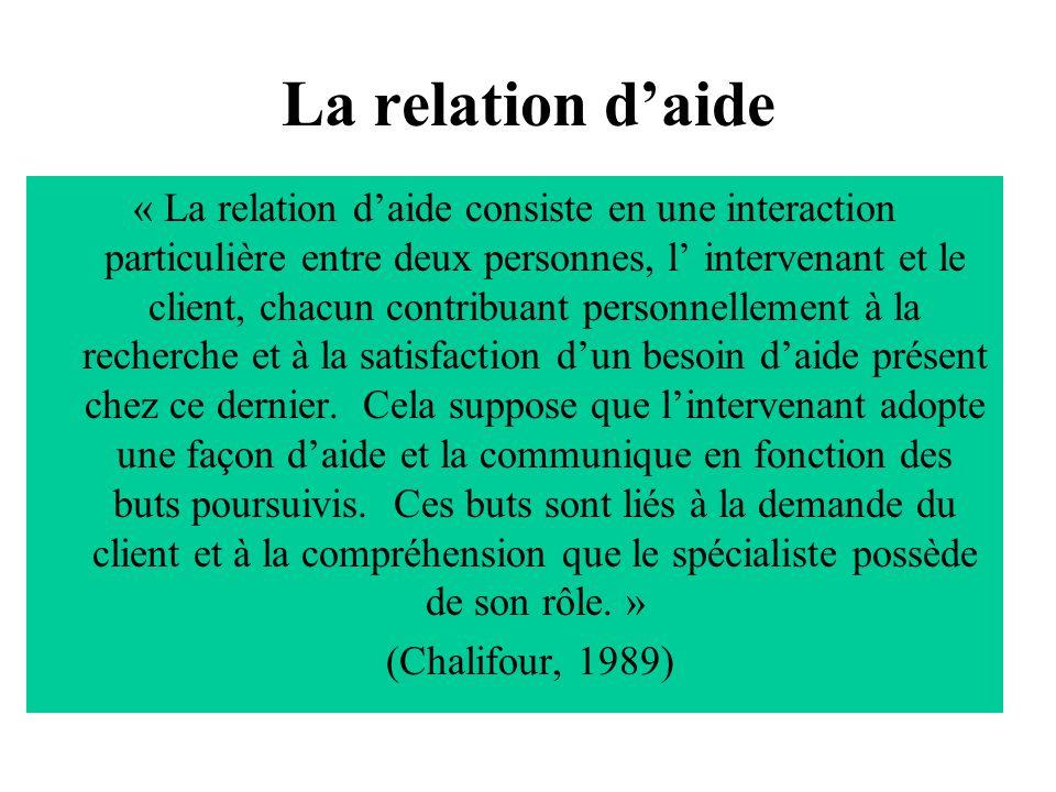 La relation daide « La relation daide consiste en une interaction particulière entre deux personnes, l intervenant et le client, chacun contribuant pe