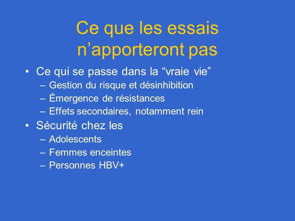 Ce que les essais napporteront pas Ce qui se passe dans la vraie vie –Gestion du risque et désinhibition –Émergence de résistances –Effets secondaires, notamment rein Sécurité chez les –Adolescents –Femmes enceintes –Personnes HBV+