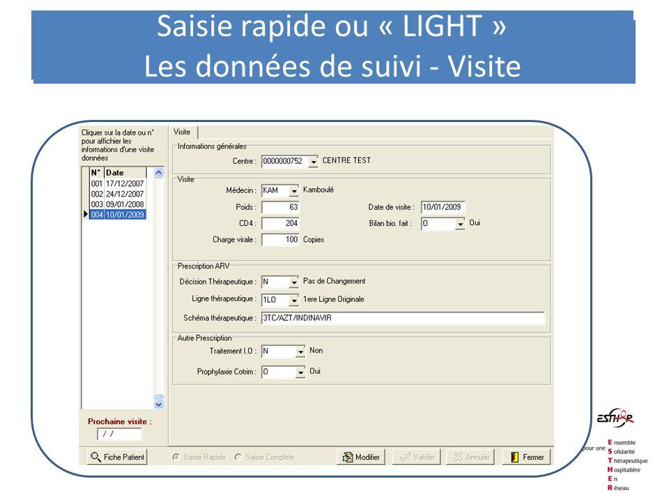 Les données de suivi - Visite Saisie rapide ou « LIGHT » Les données de suivi - Visite