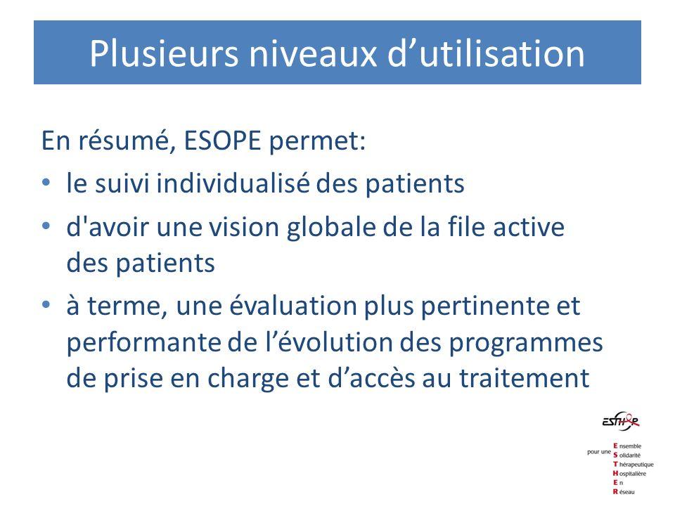 Plusieurs niveaux dutilisation En résumé, ESOPE permet: le suivi individualisé des patients d'avoir une vision globale de la file active des patients
