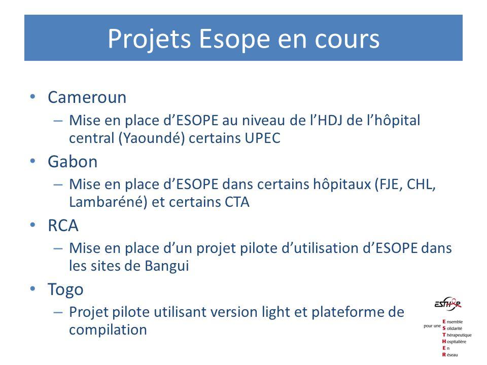 Projets Esope en cours Cameroun – Mise en place dESOPE au niveau de lHDJ de lhôpital central (Yaoundé) certains UPEC Gabon – Mise en place dESOPE dans