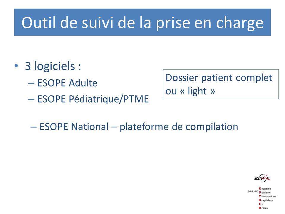 Outil de suivi de la prise en charge 3 logiciels : – ESOPE Adulte – ESOPE Pédiatrique/PTME – ESOPE National – plateforme de compilation Dossier patien
