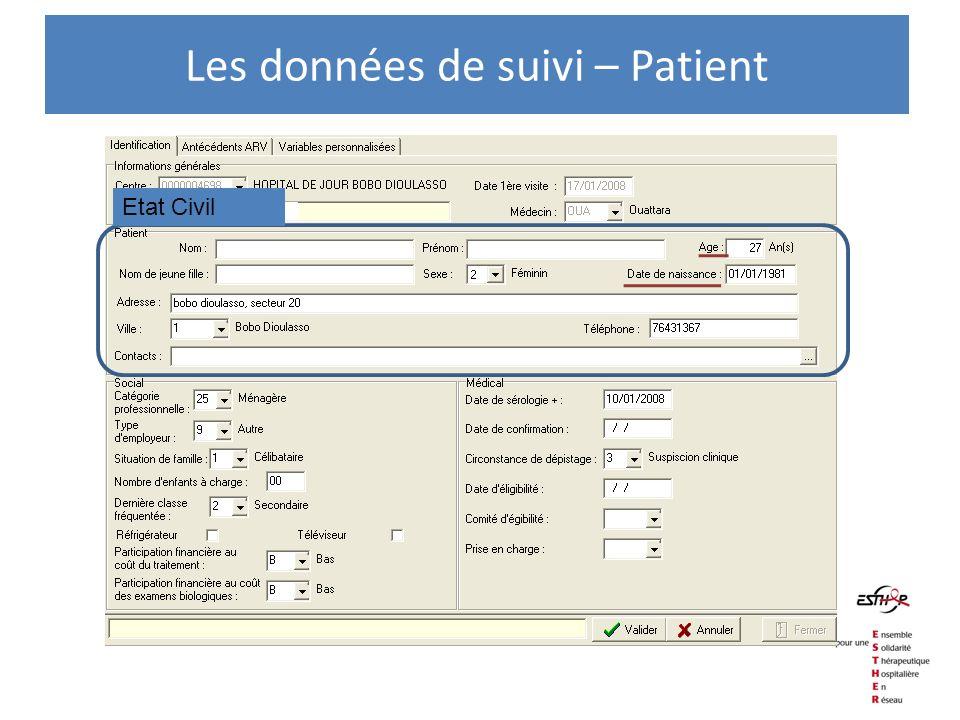 Les données de suivi – Patient Etat Civil