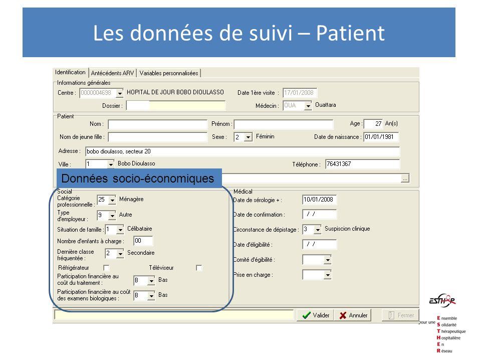 Données socio-économiques Les données de suivi – Patient