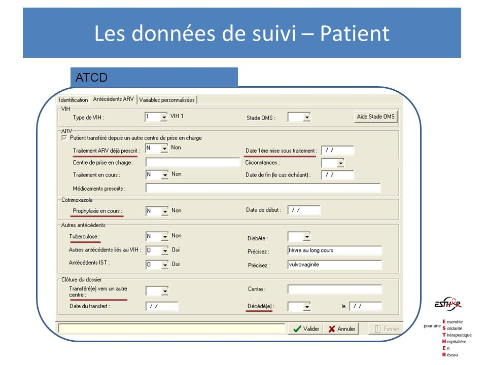 ATCD Les données de suivi – Patient