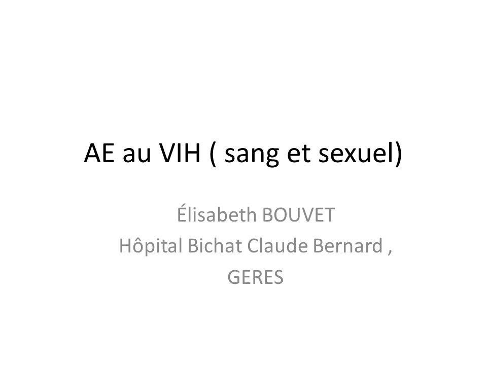 AE au VIH ( sang et sexuel) Élisabeth BOUVET Hôpital Bichat Claude Bernard, GERES