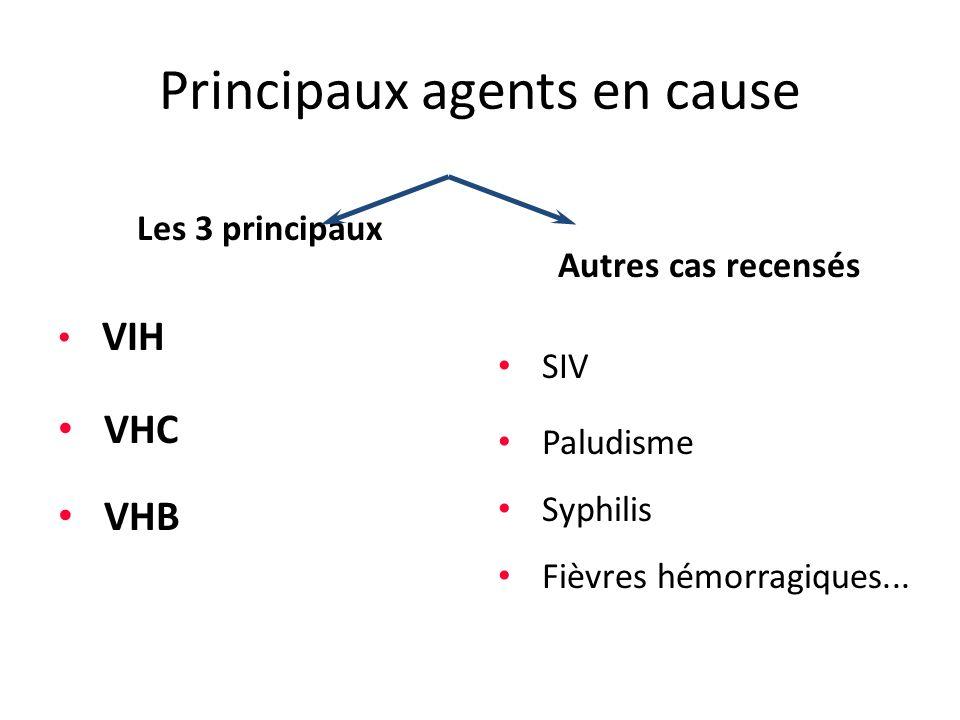 Principaux agents en cause Les 3 principaux VIH VHC VHB Autres cas recensés SIV Paludisme Syphilis Fièvres hémorragiques...