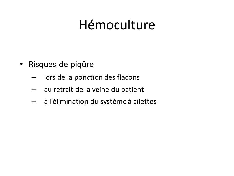 Hémoculture Risques de piqûre – lors de la ponction des flacons – au retrait de la veine du patient – à lélimination du système à ailettes