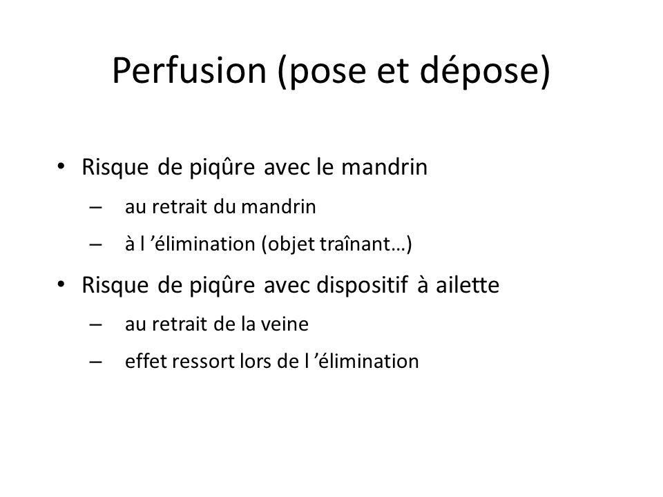 Perfusion (pose et dépose) Risque de piqûre avec le mandrin – au retrait du mandrin – à l élimination (objet traînant…) Risque de piqûre avec dispositif à ailette – au retrait de la veine – effet ressort lors de l élimination