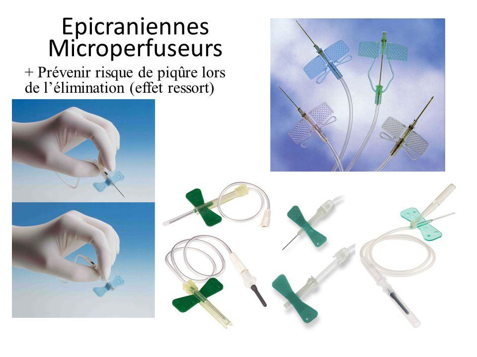 Epicraniennes Microperfuseurs + Prévenir risque de piqûre lors de lélimination (effet ressort)