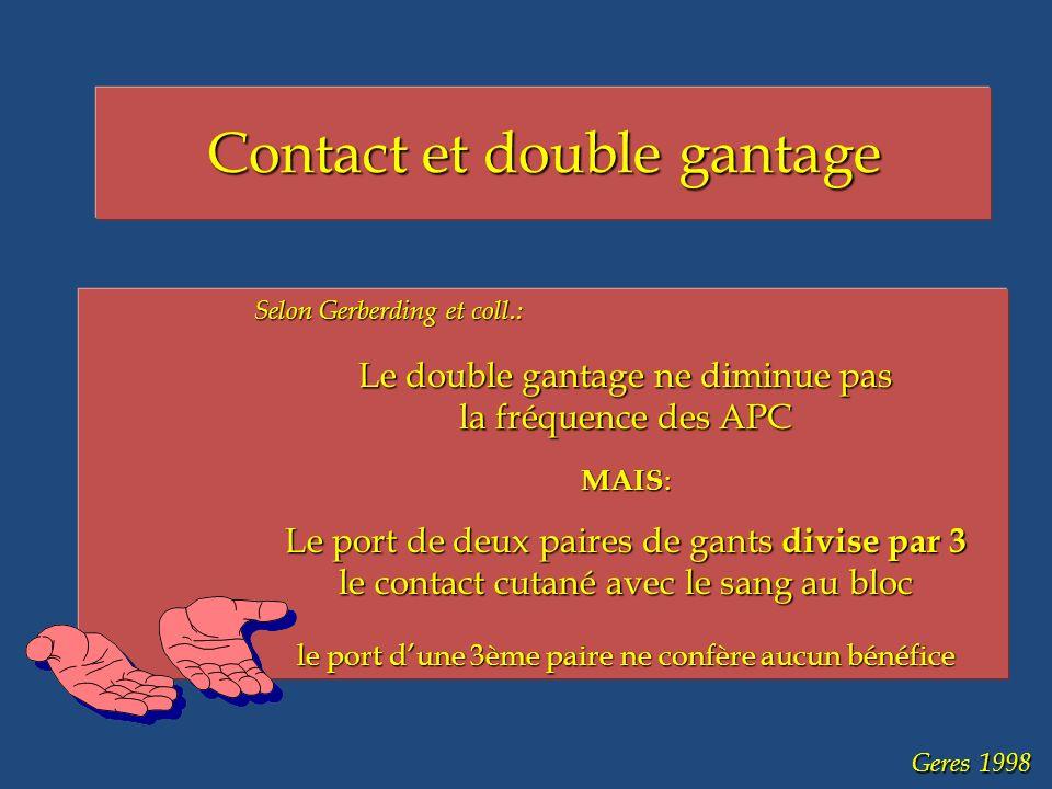 Geres 1998 Contact et double gantage Selon Gerberding et coll.: Le double gantage ne diminue pas la fréquence des APC MAIS : Le port de deux paires de gants divise par 3 le contact cutané avec le sang au bloc le port dune 3ème paire ne confère aucun bénéfice