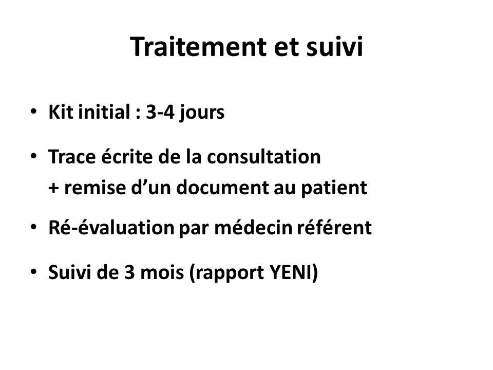 Traitement et suivi Kit initial : 3-4 jours Trace écrite de la consultation + remise dun document au patient Ré-évaluation par médecin référent Suivi de 3 mois (rapport YENI)
